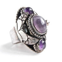 Vintage Sterling Silver Poison Ring -  Taxco Genuine Amethyst Stone Mexico Ring / Purple Art Nouveau