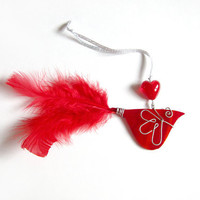 Red Bird Stained Glass Ornament Mobile by FleetingStillness