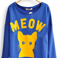 Royal Blue Long Sleeve MEOW Cat Print Scoop Neck T-shirt - Sheinside.com