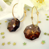 Swarovski smokey crystal earrings