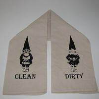 Large cream colored funny GNOME reversible HAND TOWEL you choose from 5 color prints