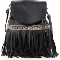 Tassel Trimmed Flap Backpack