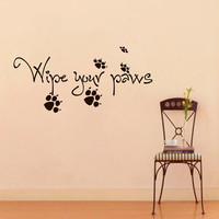 Vinyl Wall Decals Quotes Quote About Dog Wipe Your Paws Sticker Home Decor Art Mural Z589