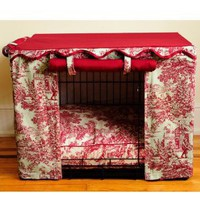 Dog Crate Cover in Red Toile