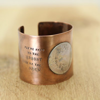 Fly Me Away to the Bright Side of the Moon -- Sterling Silver and Copper Cuff Bracelet - Gift Ideas