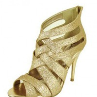GOLD PEEP TOE STRAPPY HEELS @ KiwiLook fashion