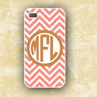 iPhone case -  Monogram chevron, Coral and golden brown - monogrammed Iphone 4s cover (9876)