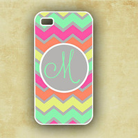 Monogram iPhone 4 case -  Pastel rainbow chevron with neon pink - custom Iphone 4 cover (9879)