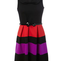 Colour Block Bow Belted Ponti Dress