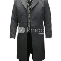 Cool Charcoal Gray Jazz Cloth Mens Long Coat - Milanoo.com