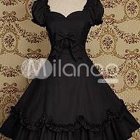 Black Short Sleeves Bow Cotton Classic Lolita Dress - Milanoo.com