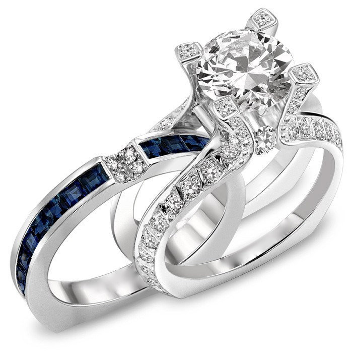 2.25 CT Round Diamond Engagement Ring & Blue Sapphire Wedding Band Set