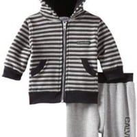 Calvin Klein Baby-Boys Newborn Stripe Hoody Sweater With Jog Pants: Amazon.com: Clothing