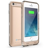iPhone 6 Battery Case, ZVOLTZ ZT6 iPhone 6 Battery Case (4.7 Inches) [Champagne Gold/Clear] - 3100mAh External Protective iPhone 6 Charger Case / iPhone 6 Charging Case Extended Backup Battery Pack Cover Case Fit with Any Version of Apple iPhone 6 (a.k.a i