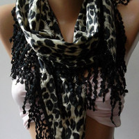 Scarf  With Lacy Edge Scarf  Shawl. Black - Leopard  Scarf