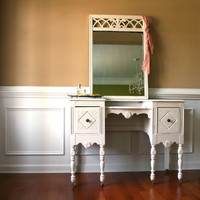 1930s Vanity Desk and Mirror. Antique White. Cream. Bohemian Chic. Boudoir Closet. Fall Home Decor.. Shabby Chic. Casters. Storage. eveteam.
