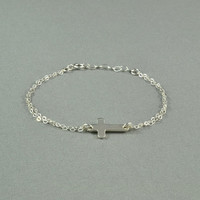 Sideways Cross Bracelet, 925 Sterling Silver Double Chain, Fashion, Simple, Pretty, Delicate, Everyday Wear Bracelet