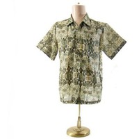Vintage 1960s Loop Sports Shirt Ethnic Print Olive Green Yellow Large