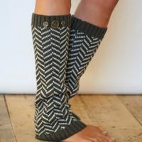 Chevron Crest : DARK Grey Chevron Leg Warmers w/ Assorted Metal Military Buttons (item no. 1-9)