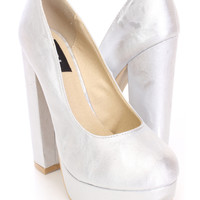 Silver Platform Pump Heels Metallic Faux Leather