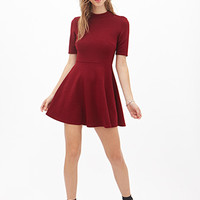 FOREVER 21 Mock Neck Fit & Flare Dress Burgundy