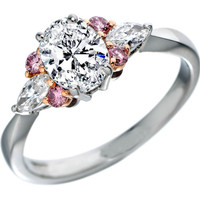 Engagement Ring - Oval Diamond Engagement Ring Natural Pink Diamonds Accents in Platinum - ES960OVPL