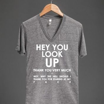 Hey You. Look Up.-Unisex Athletic Grey T-Shirt