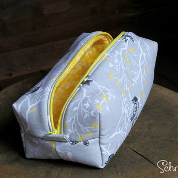 Gray and Yellow Bird Pattern Pencil Case / Makeup Bag / Accessory Bag / Pouch / Box Bag