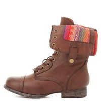 Bamboo Print-Lined Fold-Over Combat Boots by Charlotte Russe - Brown