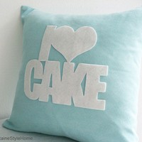 SALE. I Love Cake Pale Turquoise And White Pillow Cover. Cozy Tea Time. Made-To-Order
