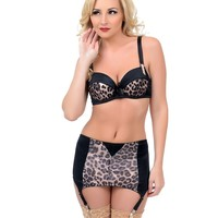 Black & Leopard Three Piece Lingerie Set