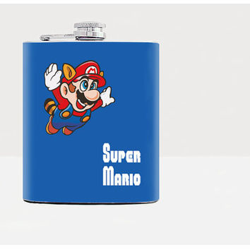 Flask - Super Mario - Christmas - gift under 20 USD - Gift Idea - Old school game - Stainless Steel - 7oz