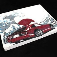 Mini DATSUN Z Hand Painting Art on canvas 7x5 1/2  The Great Wave JDM NISMO