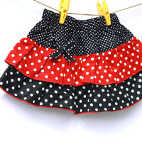 Black and Red Polkadot Skirt, Toddler Skirt, Tiered skirt