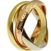 LavishShoestring | Vintage Les Must de Cartier Russian Style 18ct Triple Colour Gold Wedding Ring