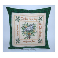 Christmas Cross Stitch Pillow, Green Pillow, Partridge In A Pear Tree
