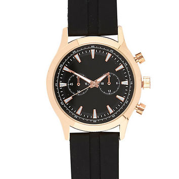 River Island MensBlack rubber triple dial watch