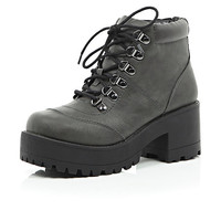River Island Womens Grey lace up chunky boots