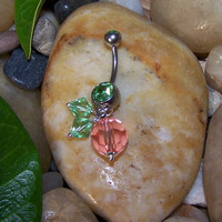 Peach, Fruit, Double Light Green Gem, Belly Button Piercing, Swarovski, Crystal Beads