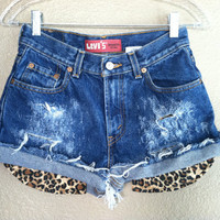 High Waisted Distressed Cheetah Pocket Studded Back Levi's Shorts (Small)