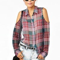 Plaid Cutout Blouse