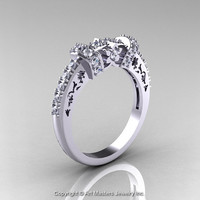 Modern Classic Armenian 14K White Gold Diamond Wedding Band R137B-14KWGD