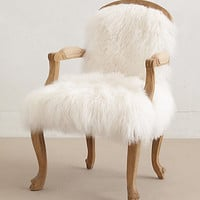 Luxe Fur Occasional Chair by Anthropologie White One Size Furniture