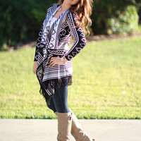 Baby It's Cold Outside Aztec Cardigan - Black