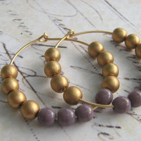 Gold Hoop Earrings, Purple Gold Earrings, Glass Bead 14k Gold Filled Hoop Earrings