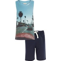 River Island Boys LA street print tank and navy short set