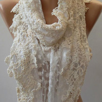Scarf  With Lace Edge Scarf - Shawl Pearl White