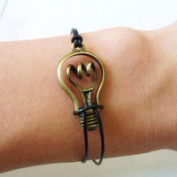 Bangle leather bracelet bulb bracelet women bracelet girls bracelet with bronze bulb and black leather cuff  bracelet wrist SH-0183