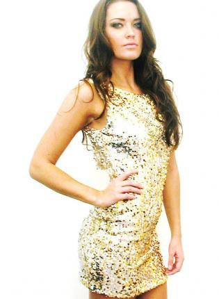 Haute Mix Gold Cream Sequin Sleeveless Mini Sequin Dress