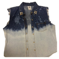 Bleached Button Down Studded Jean Vest
